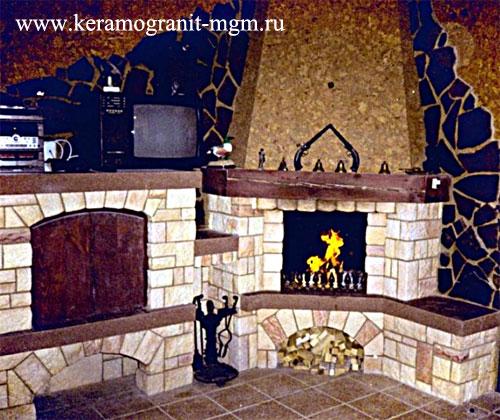 Керамический мрамор.  Облицовка из керамики и камня для отделки печей и каминов.